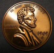 3 Inch Giant Metal Medallion Like A 1909-s Vdb Lincoln Wheat Cent. V.d.b. Penny