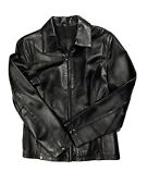 Leather Usa Womens Genuine Leather Jacket M Black Zip Up Motorcycle Riding