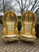 All Gold Tufted Throne Balloon Chairs. A Pair. - Worldwide Shipping