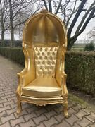 All Gold Tufted Throne Balloon Chair - Worldwide Shipping