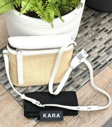 New Kara Stowaway Straw And Pebbled Leather Shoulder Bag Msrp 375