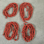Primitive Wood Bead Red Cranberry Gold Christmas Tree Garland 4 Strands 9and039 Ea