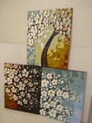 3 Matching Oil Paintings On Canvas  Blooming Flowers Trees