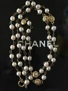 Necklace Long White Costume Pearl Beaded Crystals Gold Plated Vintage