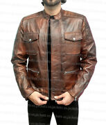 Mens Motorcycle Biker Distressed Brown Cafe Racer Boss Level Real Leather Jacket