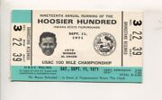 Hoosier Hundred Usac Auto Race Ticket Stub-9/11/1970-in State Fair-al Unser P...