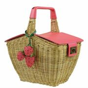 Nwt Kate Spade 3d Picnic Perfect Wicker Picnic Basket Bag W/strawberries And Ants