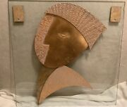 """Vintage Signed David Marshall 3d Wall Sculpture. 28""""x28"""" Glass Panel, Mirror"""