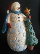 Jim Shore Christmas Time Is Cherished Snowman With Tree Figurine 6006646