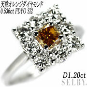 K18wg Natural Orange Diamond Ring 0.536ct Fdyo Si2 D1.20ct - Auth Selby_japan