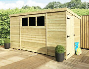 10 X 8 Pressure Treated Tongue And Groove Pent Shed - Side Single Door - 3 Windows
