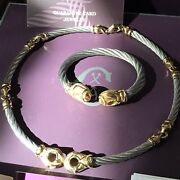 Phillip Charriol Necklace And Cable Cuff Bracelet Steel 18k Gold W Paper 5,400