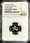 1993 Platinum Canada 75 Artic Foxes Endangered Wildlife Ngc Proof 70 Ultra Cam