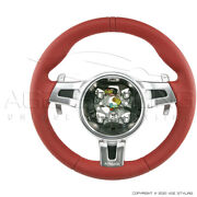Oem Porsche 997 Cayman 987 Boxster Carrera Red Steering Wheel W Paddle Shifters