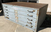 Beautiful Vintage Industrial 40x17x27 Metal Lateral File Tool Box W Patina