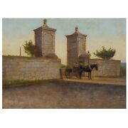 Old City Gate,st.augustine, Florida Painting On Photograph After John Stoddard