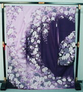 0344 Significantly Tailoring Kyo-yuzen Silk Furisode Purple Wisteria Color