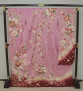 0418 Significantly Tailoring Kyo-yuzen Furisode Pink Four Seasons Flowers