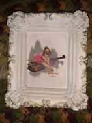 The Wee Musicians 4 Plaster Framed Pictures Lowell Piano Drum Harp French Horn