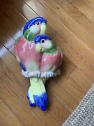 1980s Boho Chic Fitz And Floyd Parrot Bird Wall Planter/ Pocket Wow 15x9.5andrdquo