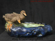 19'' Marked Folk China Culture Wucai Porcelain Animal Two Duck Brush Wash Statue