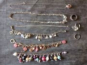 Collection Of Vintage Costume Jewellery Chain Necklace Pendant Bracelet Rings