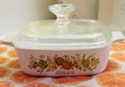 Authentic Vintage Corning Ware A-1-b L'echalote Spice Of Life Pryex Glass Top