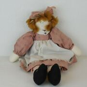 Handmade Cloth Rag Doll Farmhouse Cottagecore Fully Dressed Red Hair Knickers