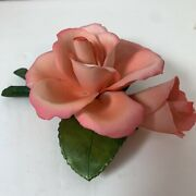 Napoleon Italy Pink Ceramic Rose Porcelain Flower With Bud And Leaves
