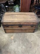 Antique Victorian Steamer Stagecoach Wood Trunk Bridal Chest W/ Tray Upholstery