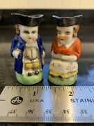 Two Vintage Miniature Toby Mugs. Made In Japan. Colonial Couple Man Woman