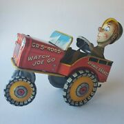 G.i. Joe And His Jouncing Jeep Unique Art Tin Wind-up Wwii 1944 Crazy Car Works