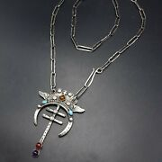 Kathy Sands Sterling Silver Double Bar Cross With Wings And Gemstones Necklace