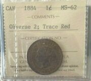 1884 Canadian Large Cent Iccs Obverse 2 Trace Red