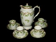 Christmas Holly Berry 543 Chocolate Pot Set Haviland Limoges Double Gold Trim