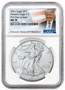 2021 American Silver Eagle T-1 Ngc Ms70 First Day Of Issue Trump Label Rare