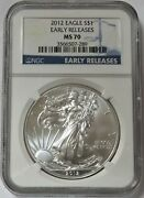 2012 American Silver Eagle 1 Dollar Coin Ngc Ms 70 Early Releases