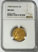 1908 Gold United States 5 Indian Head Half Eagle Ngc Mint State 64+ Ms 64+