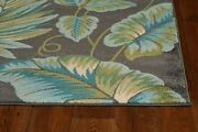 8and039x11and039 Grey Teal Machine Woven Oversized Tropical Leaves Indoor Area Rug