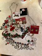 Lot Vintage To Now Christmas Jewelry Brooches Earrings Trees Wreaths Deer Holly