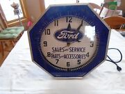 Vintage Npi Neon Spinner Clock / Sales Parts And Sevice 18andrdquo Works Restored