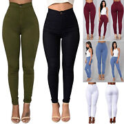 Women High Waisted Denim Skinny Jeans Stretchy Pants Lady Jeggings Trouser