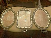 3 Antique Silver Plated English Plates Dishes Decorated With Rocailles And Foliage