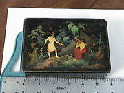 Vintage Russian Lacquer Hand Painted Palekh Box Fisherman And Gold Fish Tale