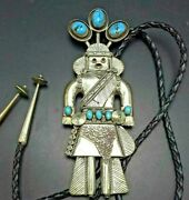 5.5 Long Old Navajo Sterling Silver Sleeping Beauty Turquoise Kachina Bolo Tie