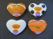 4 Reese's Heart Shaped Sports Tins And Peanut Butter Miniature Cups 3.7 Oz Ea 6