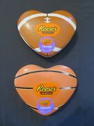 2 Reese's Heart Shaped Sports Tins And Peanut Butter Miniature Cups 3.7 Oz Ea 6