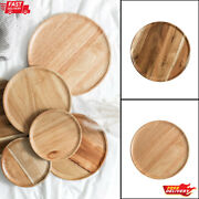 Whole Acacia Rubber Wood Plates Natural Eco-friendly Round Solid Trays Tableware