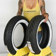 Mt90b 16 180/65 16 Dunlop American Elite Front And Rear Wide White Wall Tire Kit