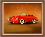 Robert White Large Original Painting On Canvas Car Porsche Continental Signed